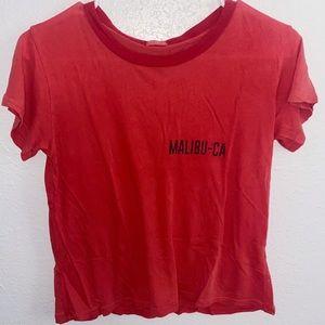 John Galt/ Brandy Melville red MALIBU-CA t-shirt